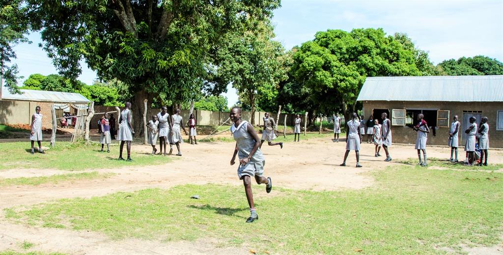 Sudan orphans playing in yard